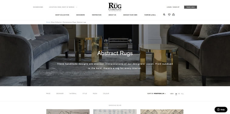 thje rug company category page design