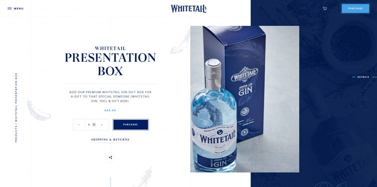 whitetail gin product page design
