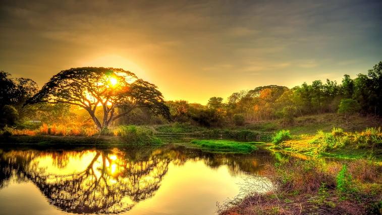 jezero odsjaj sunce zalazak desktopš pozadina