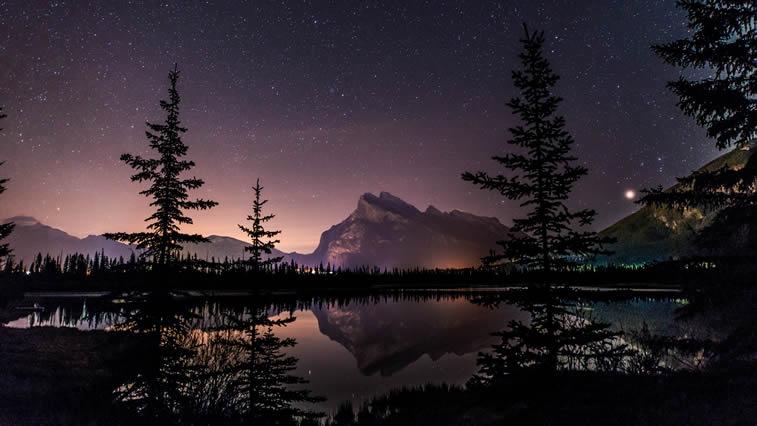 noc na jezeru zvezdano nebo desktop pozadina