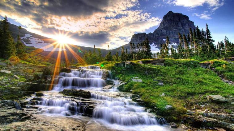 planinski potok sunce priroda desktop