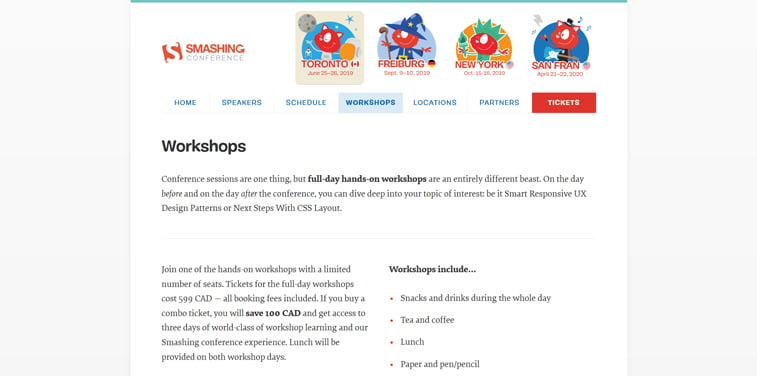 smashing conference toronto wporkshops