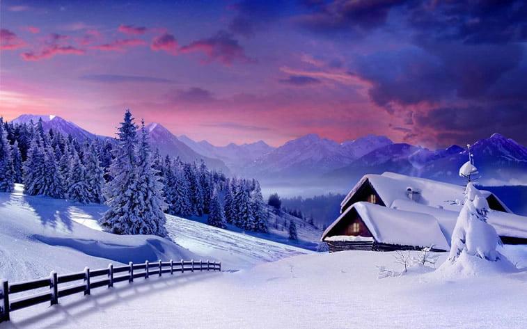 sneg kuca planina priroda pozadina za desktop