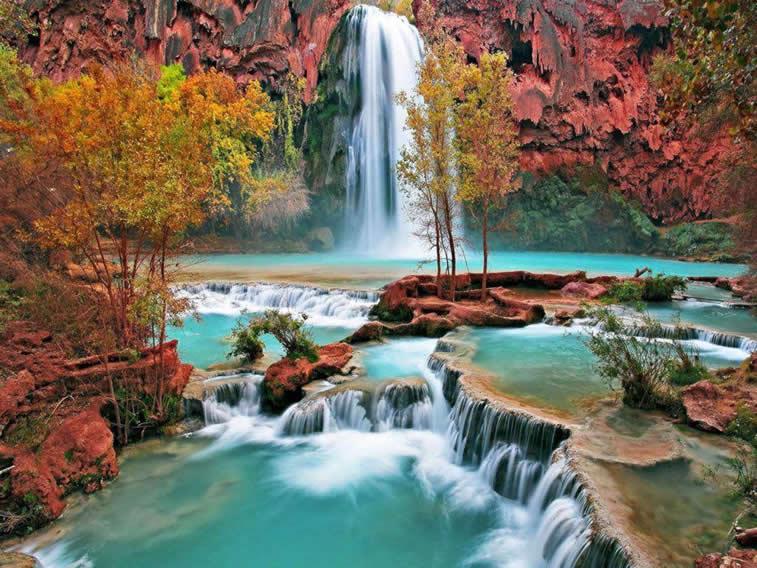 vodopad jesen priroda sliak za desktop