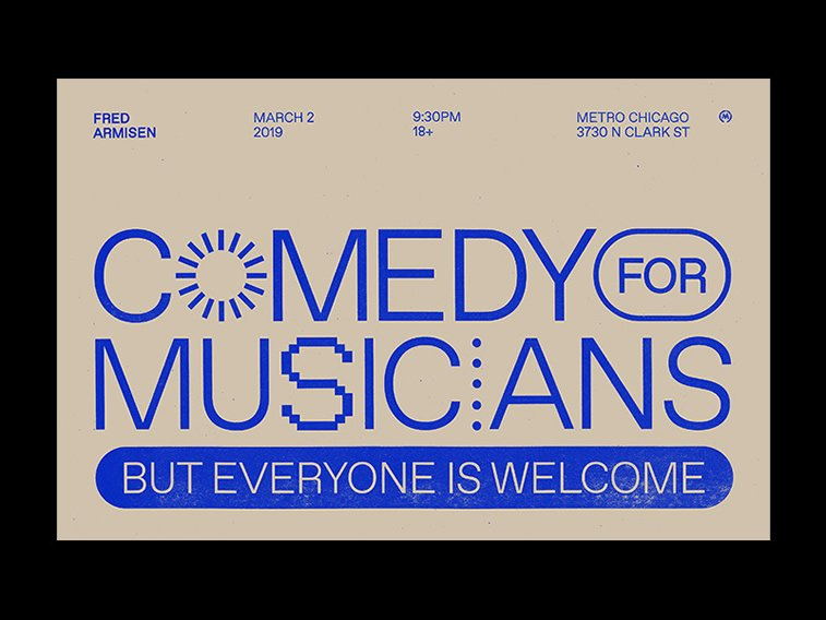 comedy for musicians poster typgraphy