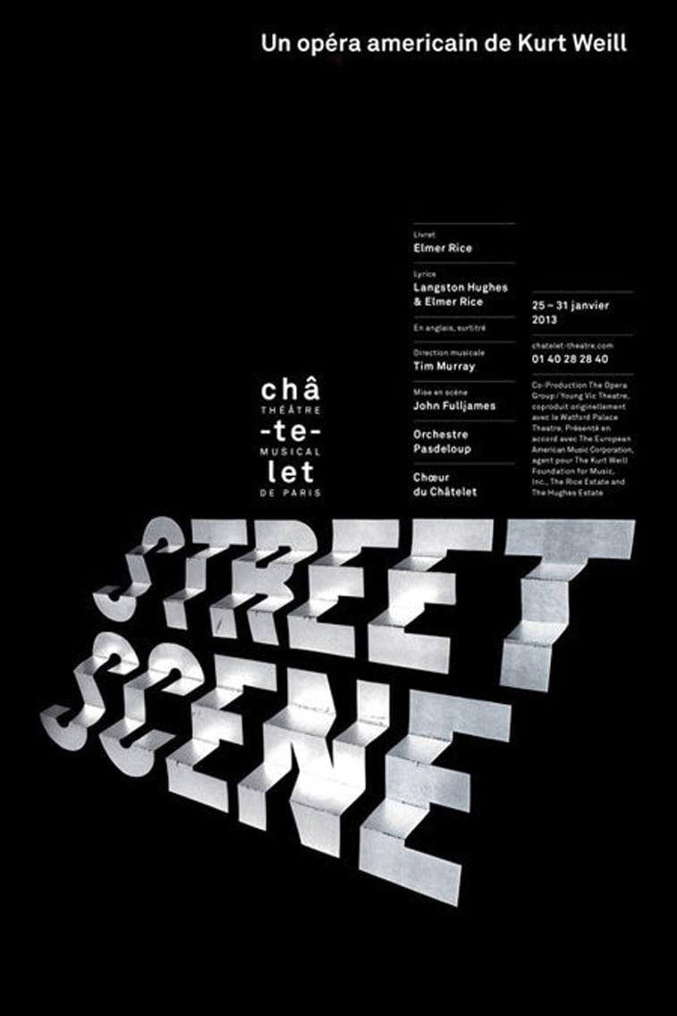 Opera streets scene typography poster