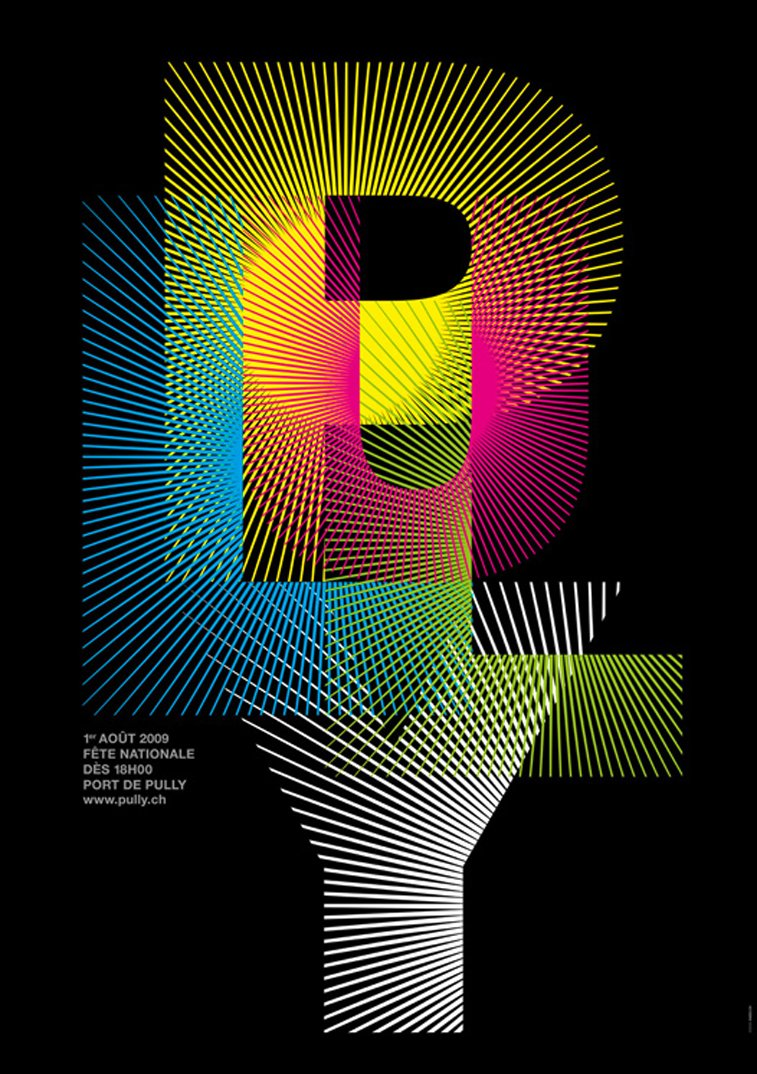 Pully Fireworks colorful typography poster