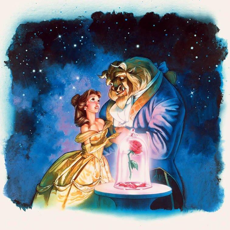 lepotica i zver crtani film poster ilustracija