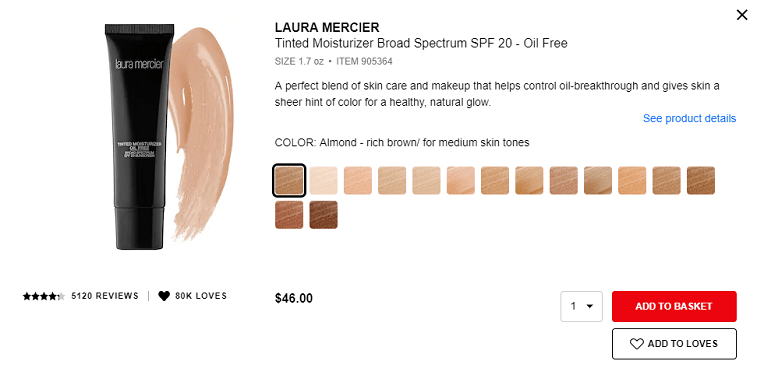 sephora add to basket cta button example