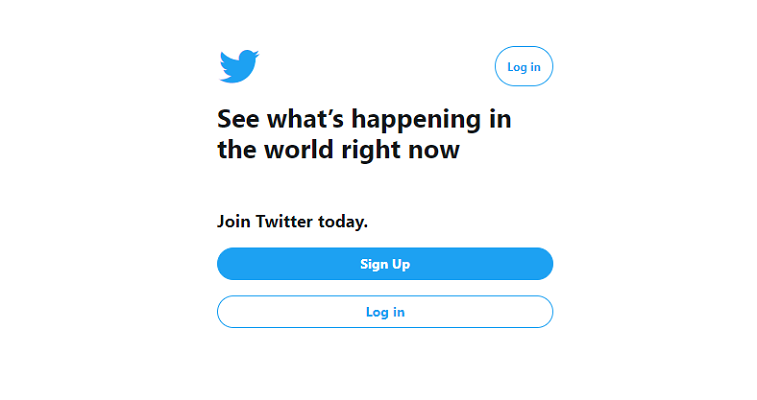 twitter log in page cta buttons