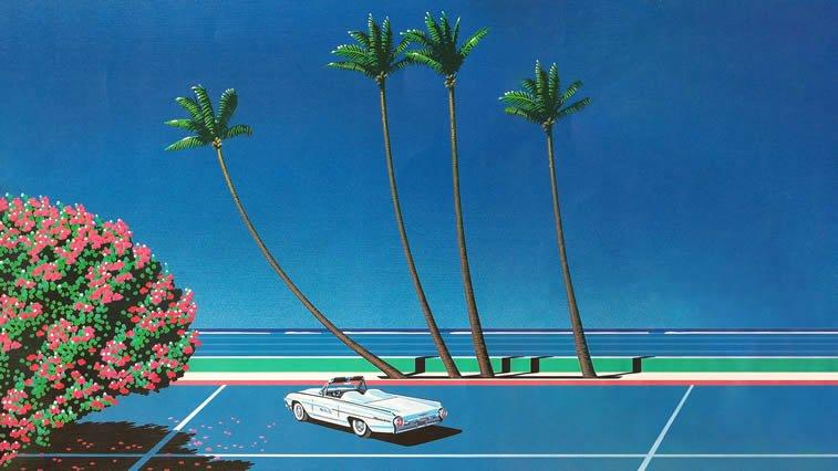 hiroshi nagai automobil na teniskom terenu