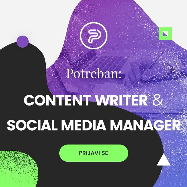 Potreban content writer i social media manager