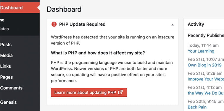 wordpress dashboard php update required