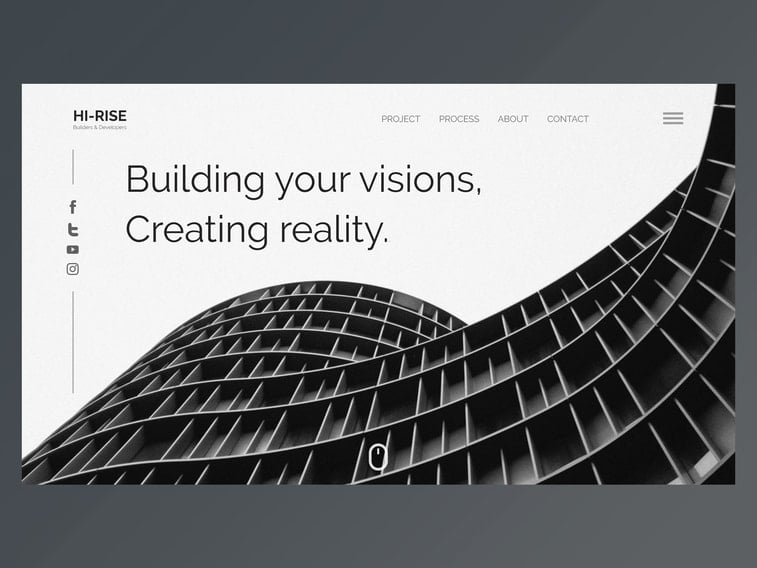 black and white website building