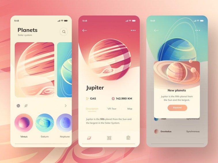 gradient planets app