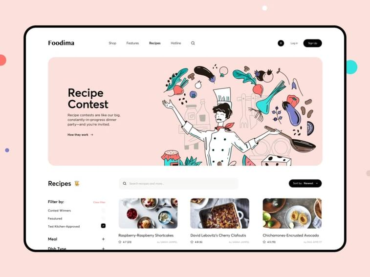 hand drawn illustrations cooking contest website