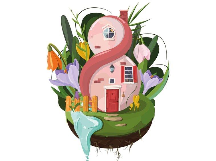 women's day house illustration