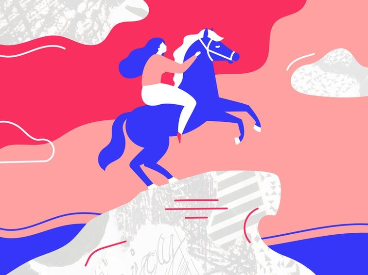 women's day illustration woman horse monument illustration
