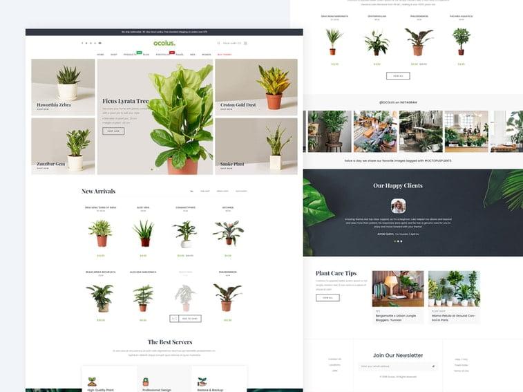 oculus woocommerce theme plants