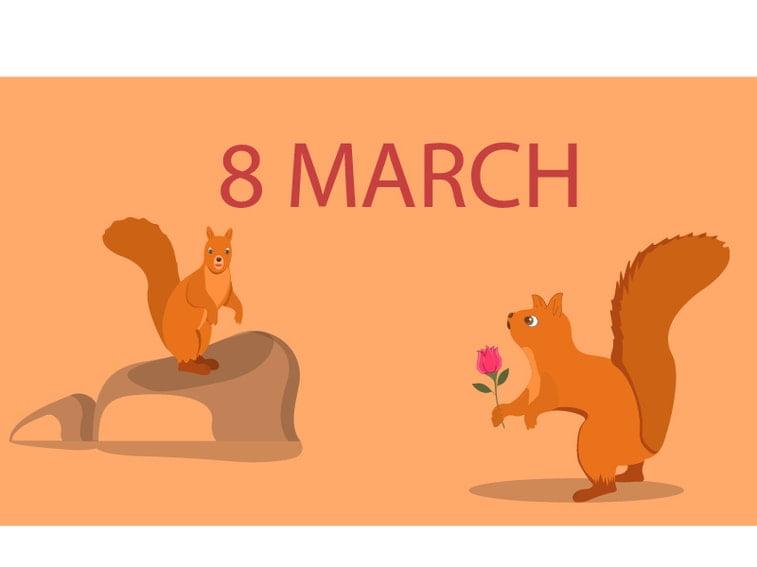 women's day illustration squirrels