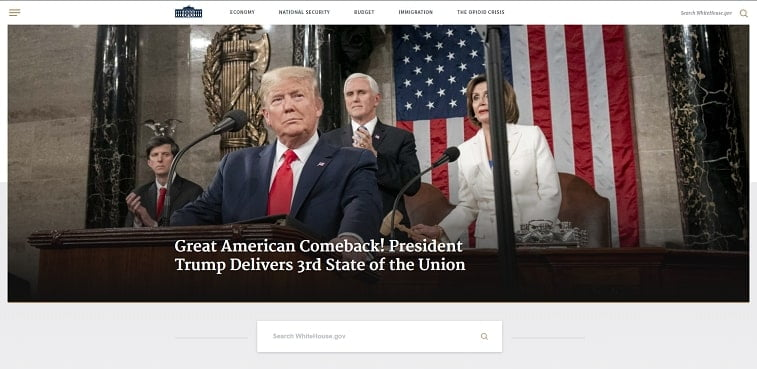 whitehouse website homepage