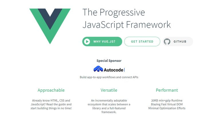 vue.js website screenshot