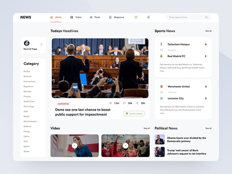 news media website concept