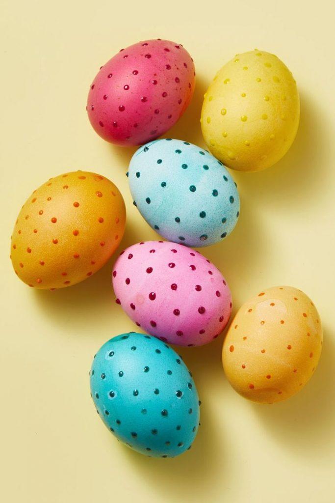 uskrsnja jaja ukrasavanje polka dot