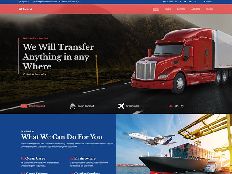 transportation logistics website design ideas