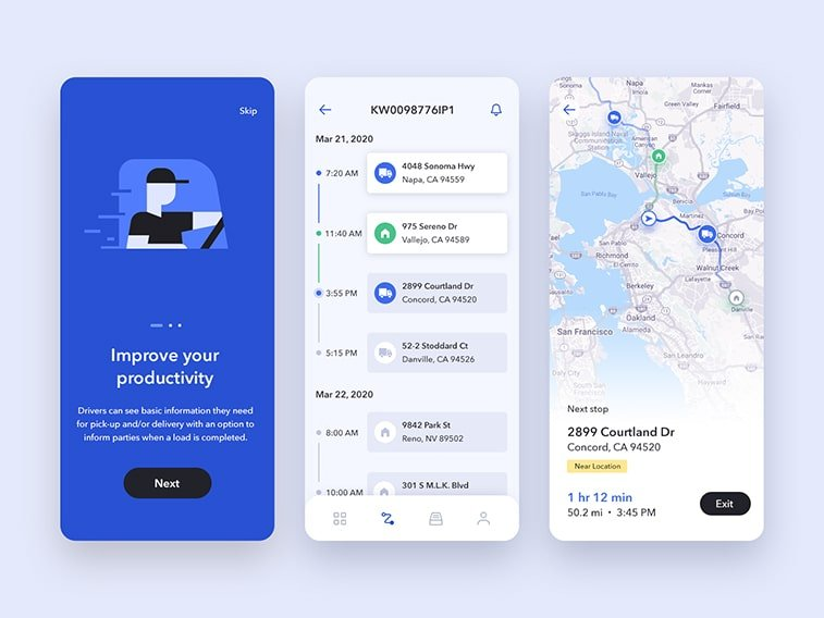 transportation logistics mobile app design