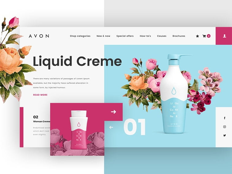avon cosmetics redesign website product page