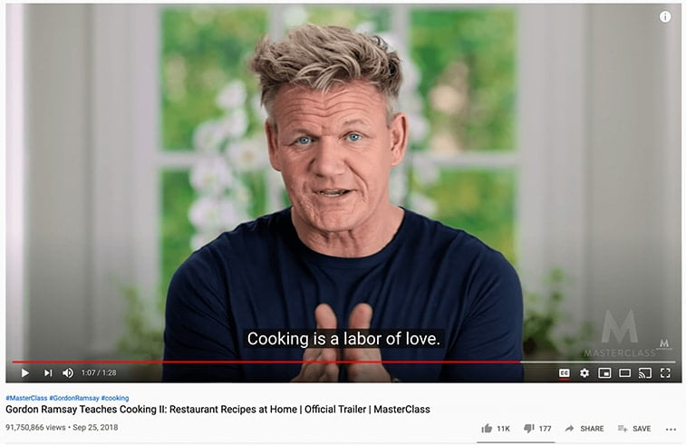 closed captions youtube gordon ramsay cooking video