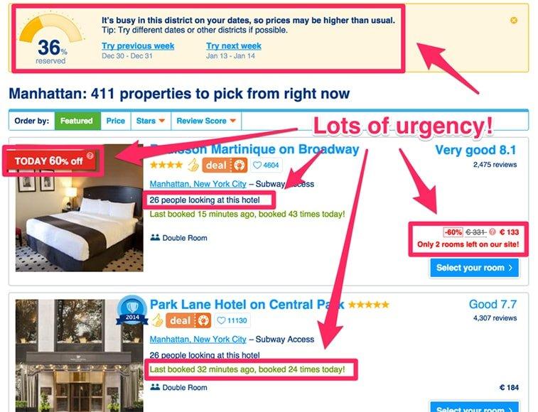 cta urgency booking.com website