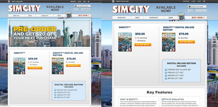 simcity landing page versions a/b testing example