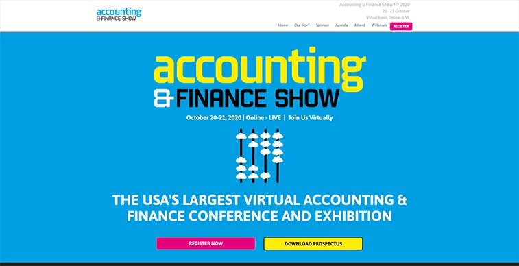 accounting and finance show 2020 website screenshot