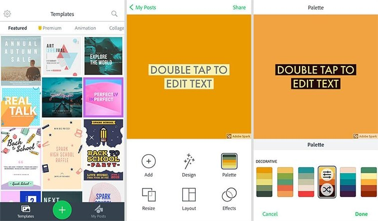 adobe spark interface mobile app instagram story