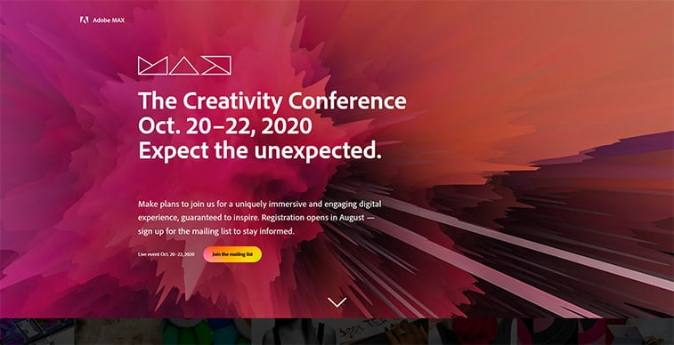 adobe the creativity conference 2020 website screenshot