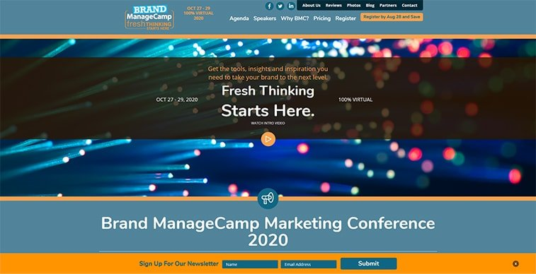 brand managecamp 2020 website screenshot