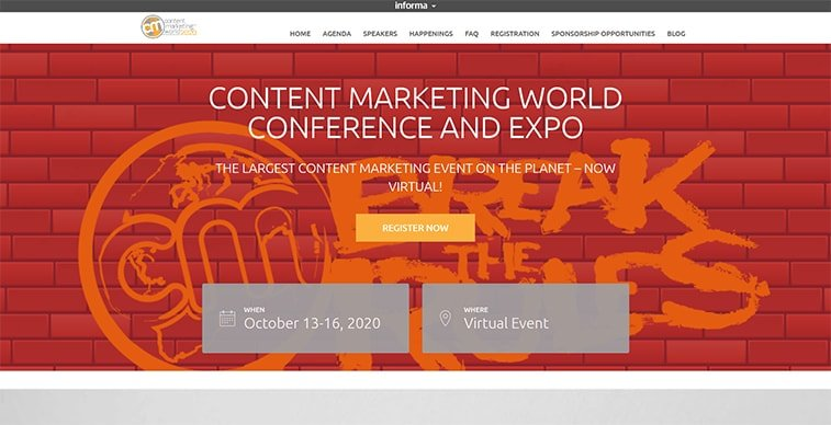 content marketing world 2020 website screenshot