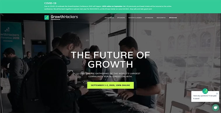 growthhackers conference 2020 website screenshot