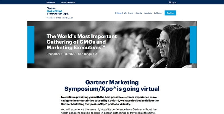 marketing symposium xpo 2020 website screenshot
