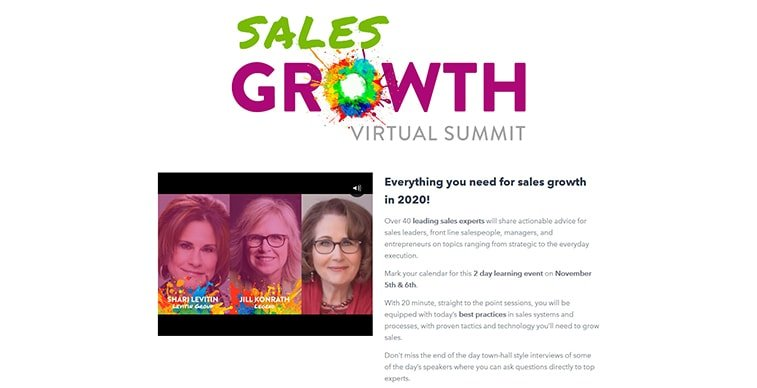sales growth virtual summit 2020 website screenshot