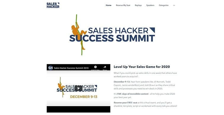 sales hacker summit 2020 website screenshot