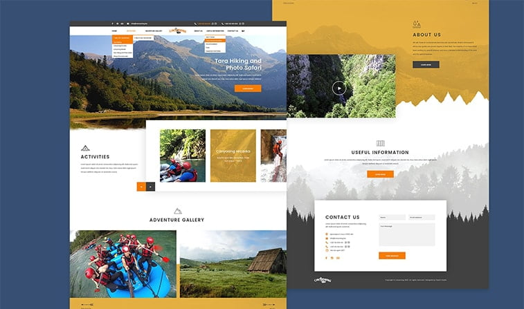 website redesign example tara mountain canyoning travel tourism