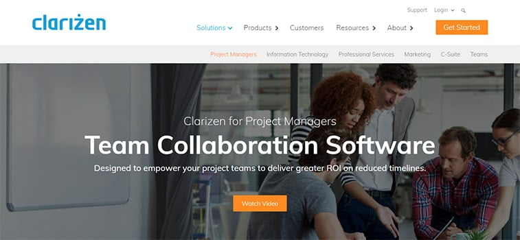 clarizen project management system website screenshot