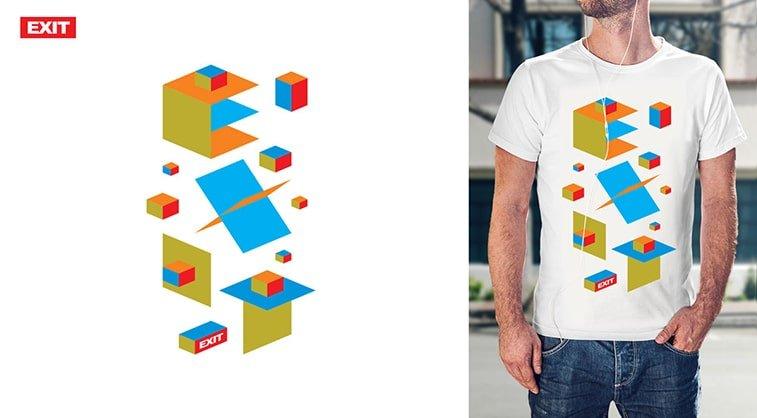 exit festival t shirt design logo white