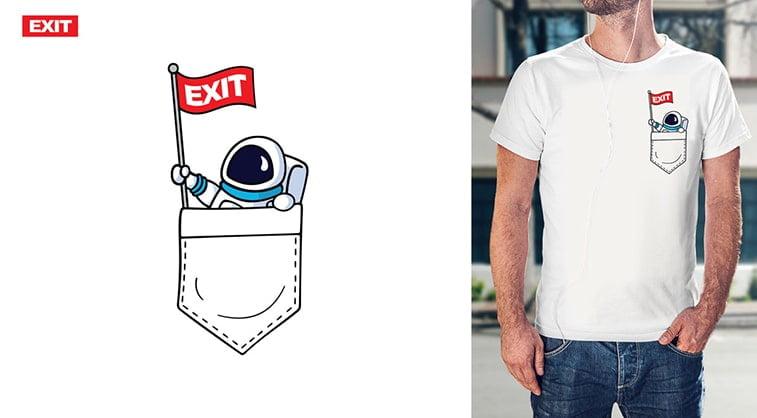 exit festival t shirt design white astronaut