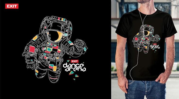 exit festival t shirt design black astronaut