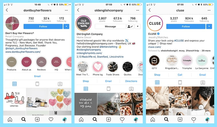 instagram for business profile optimization examples