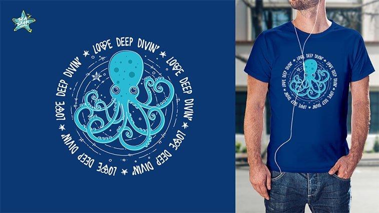 exit festival t shirt design blue octopus sea star
